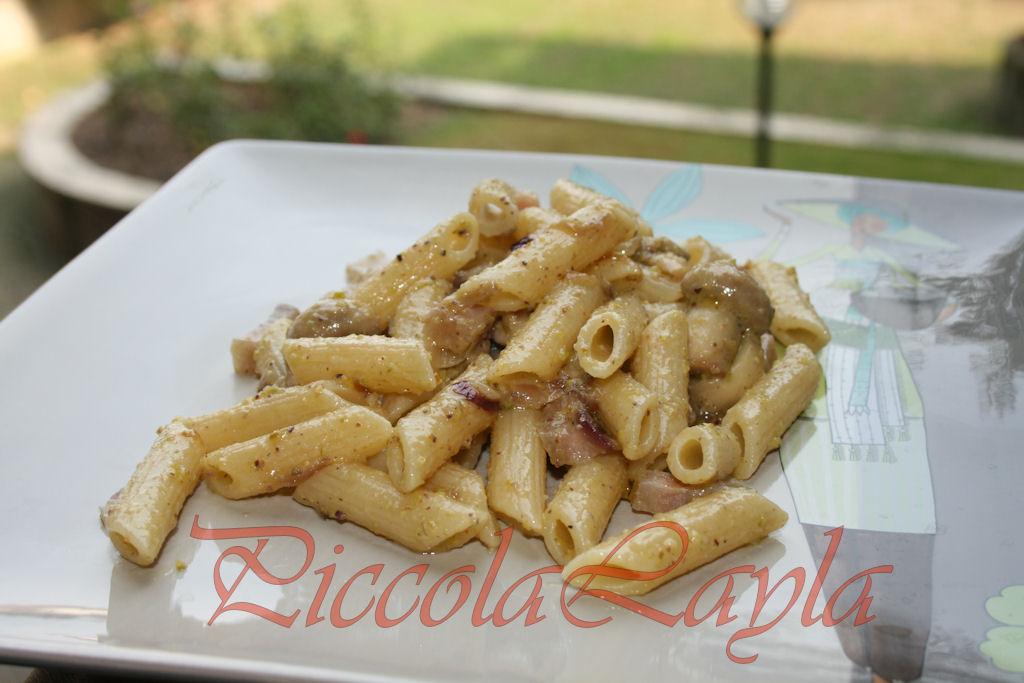 penne affumicate con funghi e pistacchi 3b