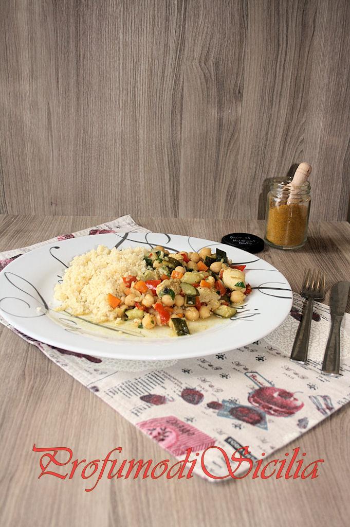 Cous Cous con Bocconcini di Pollo e Verdure Estive