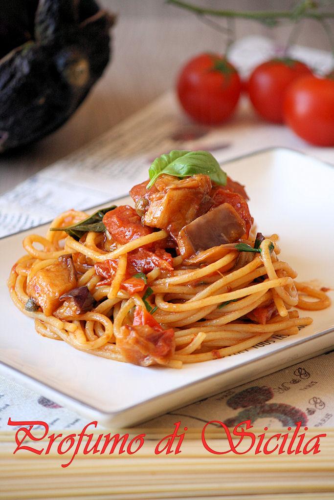 Spaghetti con Pomodorini Arrostiti e Melanzane