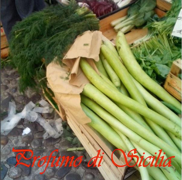 zucchina lunga e Minestra di Tenerumi e Spaghetti Rotti