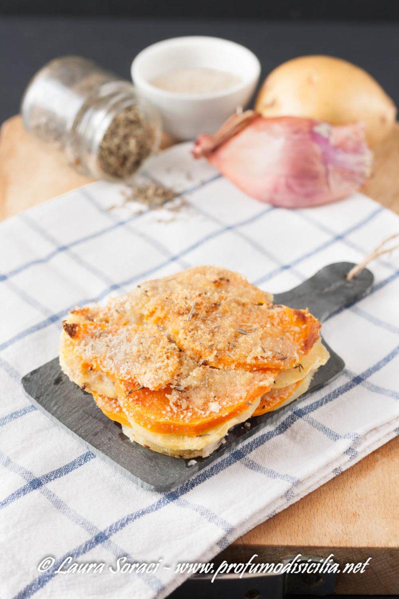 Un delizioso tortino con zucca e patate, ricco di sapore perfetto per ogni occasione